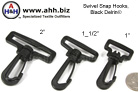 These Plastic Swivel Snap Hooks swivel in the middle and come in black plastic only