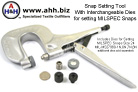 This Snap Setting Tool comes with dies for setting Size 24 Snaps, MIL- MS27980 - 1N, 6N, 7N, 8N other dies sold separately