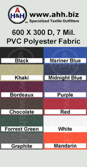 600 X 300 Denier, 7 Mil. PVC Vinyl Polyester Fabric: is available in these colors