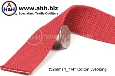 1_1/4″ Cotton Webbing - for cotton straps and cotton belts - Renewable Resource Green Textile
