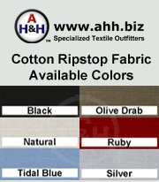 100% Cotton Ripstop Performance Fiber Fabric is available in these colors