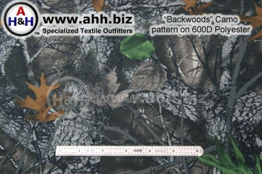 Backwoods camo pattern simulates mossy covered oak forrest in fall hunting season, detailed printed to closely simulate forrest environment