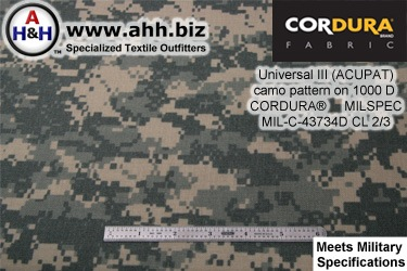 ACUPAT Universal 3 Camo Pattern on 1000 Denier CORDURA® Nylon Fabric, Mil-Spec MIL-C-43734D Class 2 and 3