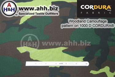 Woodland camo Pattern on 1000 Denier CORDURA® Nylon Fabric