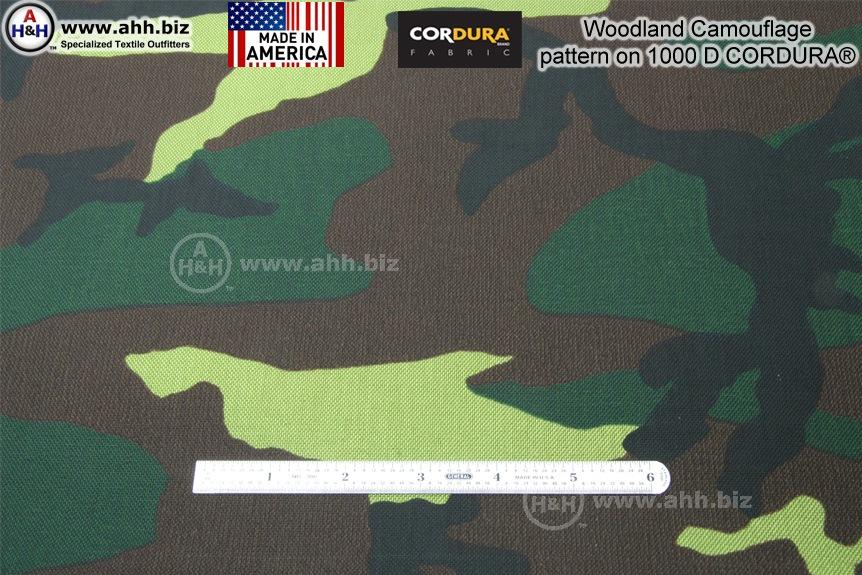 Woodland Camo Pattern On 1000 Denier Cordura 174 Nylon Fabric