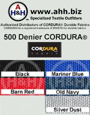 500 Denier CORDURA® Heavy Duty Nylon Fabric: is available in these colors