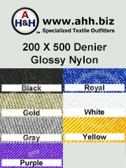 200 X 500 D Glossy Nylon,  Heavy Duty Nylon Fabric - Smooth Finish Nylon material is available in these colors