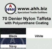 Nylon Taffeta 70 Denier Coated is available in these colors