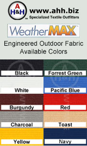 Weather Max™ Outdoor Fabric is available in these colors