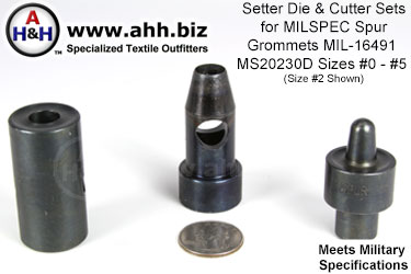 Die & Cutter Sets for Mil-Spec Spur Grommets