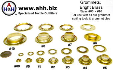 Solid Brass Grommets size 00 through size 10