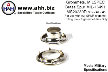 Nickel Plated Brass Spur Grommets Mil-Spec MIL-G-16491 MS20230D