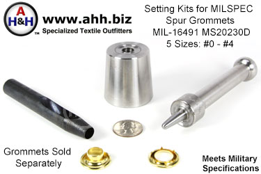 Spur Grommet Setting Kits for Mil-Spec MIL-G-16491 MS20230D (ASG) Grommets