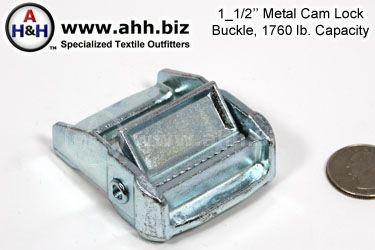 1_1/2 inch (38mm) Cam Lock Buckle, Metal, Heavy 1760lb. Capacity