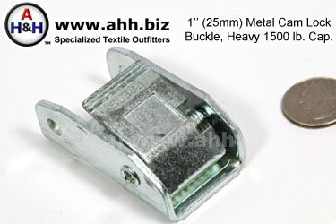 1 inch Heavy Duty Cam lock Buckle, Metal 1500lb. cap.