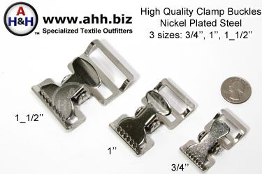 High Quality Steel Clamp (Tourniquet) Buckles, Nickel Steel 3 sizes