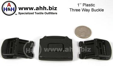 1 inch Three Way Buckle, Plastic