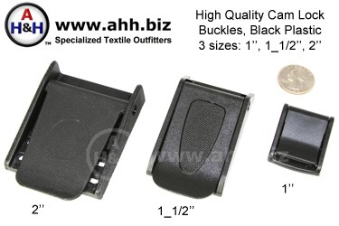 High Quality Cam Lock Buckles, Black Plastic in 3 sizes