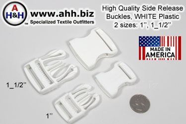 High Quality Side Release Buckles, WHITE Plastic in 2 sizes