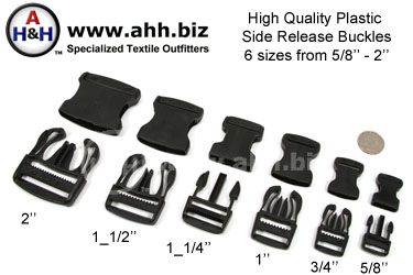 High Quality Side Release Buckles, Black Plastic in 6 sizes