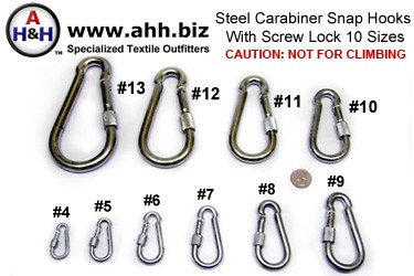 Steel Carabiner Hooks, with Screw Lock, Nickel Plated in 10 sizes