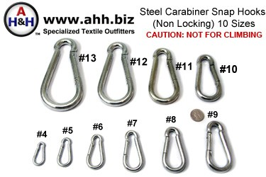 Steel Carabiner Hooks,Non Locking, Nickel Plated in 10 sizes