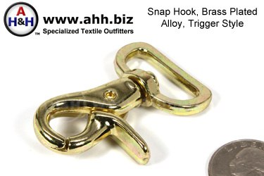1″ Trigger Style Swivel Snap Hook Brass Plated Cast Metal Alloy