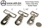 Nickel Plated Swivel Snap Hooks in 3 sizes