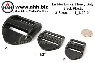 Ladder Locks for webbing, Heavy Duty black plastic