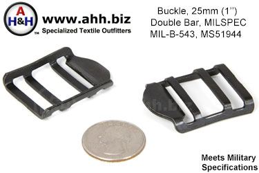 1 inch Double Bar Buckle, MIL-B-543, MS51944