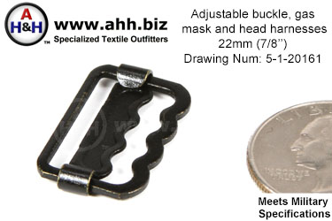 7/8 inch Adjustable buckle for gas mask and head harnesses Mil-Spec Drawing Number 5-1-2016