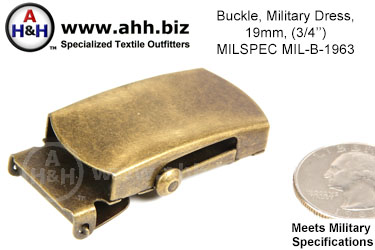 3/4 inch Military Dress Belt Buckle, Mil-Spec MIL-B-1963
