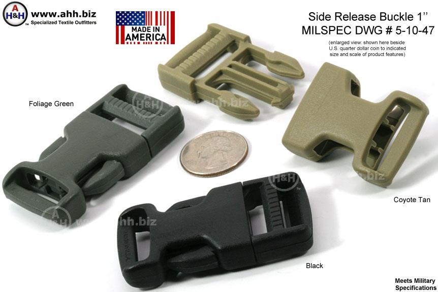 1 Inch Side Release Buckle Plastic Mil Spec