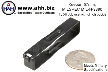 2 1/4 inch Keeper for webbing belts Mil-Spec MIL-H-9890 Type XI, use with clinch buckle