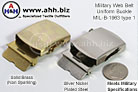 Authentic Military Issue Web Uniform Belt Buckle - Solid Brass MILSPEC MIL-B-1963 Type 1