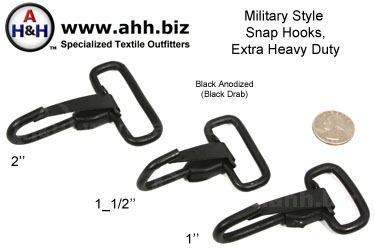Military Style Snap Hooks, Steel, Extra Heavy Duty