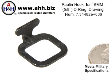 PPaulin Hook, for 5/8 inch D Ring, Mil-Spec Drawing Number 7344820