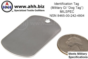 Identification Tag NSN 8465-00-242-4804 (dog tag)