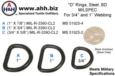 D-Rings, Steel, Black Drab, Mil-Spec MIL-R-3390-CL2 MS51925-2