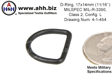 11/16 inch X 9/16 inch D Ring, wire thickness 0.0915 inch, Mil-Spec MIL-R-3390 Class 2 Configuration L