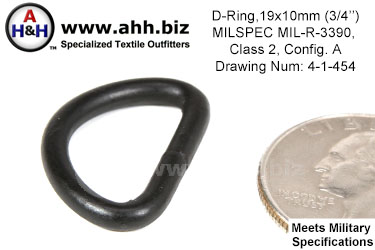 3/4 inch D Ring (3/4 inch x 3/8 inch, wire thickness 0.1205 inch), MILSPEC MIL-R-3390, Class 2, Configuration A