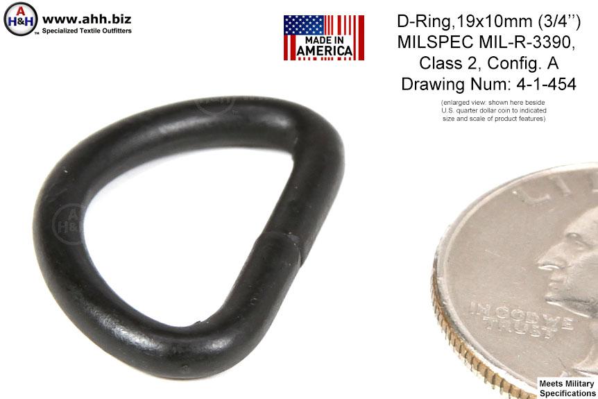 D Ring 19x10mm 0 75 Inch Mil Spec Mil R 3390 Class 2