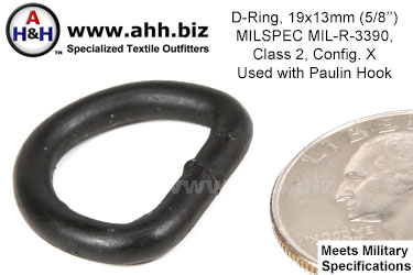 5/8 inch D Ring (5/8 inch X 1/2 inch, Wire Thickness 0.148 inch) Mil-Spec MIL-R-3390, Class 2, Configuration. X