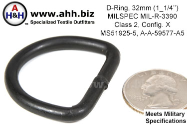 1 1/4 inch D Ring, (Wire Thickness 0.192 inch) Mil-Spec MIL-R-3390, Class 2, Configuration X