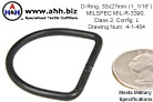 D-Ring, 33x27mm (1_5/16 inches), MIL-R-3390, Class 2, Config. L