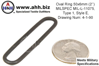 2 inch x 1/4 inch Oval Ring MILSPEC MIL-L-11075 Type 1 Style E
