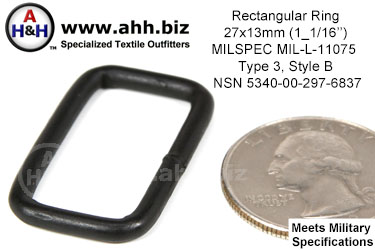 1 1/16 inch Rectangular Ring, (1 1/16 inch x 1/2 inch, wire thickness 0.120 inch) Mil-Spec MIL-L-11075 Type 3 Style B