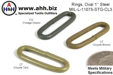 1 inch Oval Ring, Steel, Mil-Spec MIL-L-11075-STG Class 3