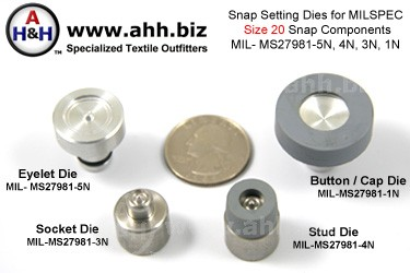 1/2 inch (Size 20 Mini) Snap Setting Dies for Snaps, Mil-Spec MIL-MS27981