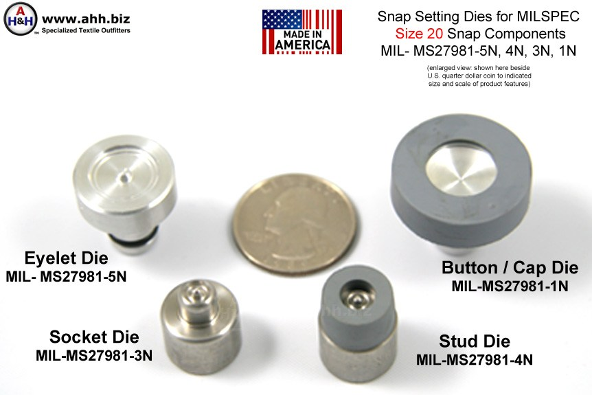 1/2 inch (Size 20 Mini) Snap Setting Dies for Snaps, Mil-Spec MIL